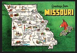 Carte Géographique Du Missouri - Those World Famous Mules - Jefferson City - Bluebird - Hawthorne - DEXTER PRESS - Etats-Unis