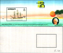 86717) 1999 KIRIBATI HMS RESOLUTION & AUSTRALIA '99 MINISHEET FINE MINT MNH/MUH - Kiribati (1979-...)