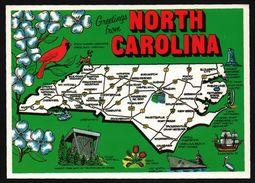 Carte Géographique From North Carolina - Raleigh - Cardinalbird - Dogwood - Elisabeth II - Uss North Carolina - AERIAL - Etats-Unis