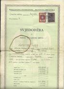 CROATIA   --  BANOVINA HRVATSKA  --  SVJEDODZBA   --  SCHOOL CERTIFICATE  --  1940  --  TAX STAMP - Historical Documents