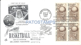 65534 US SPRINGFIELD COVER FIRST DAY YEAR 1961 SPORTS BASKETBALL CIRCULATED TO ARGENTINA NO POSTAL POSTCARD - United States