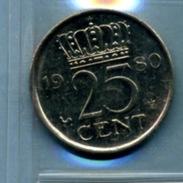 1980 25 CENTS - [ 3] 1815-… : Royaume Des Pays-Bas