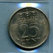 1950 25 CENTS - [ 3] 1815-… : Royaume Des Pays-Bas