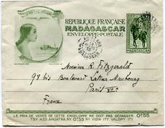 MADAGASCAR ENTIER POSTAL DEPART ANTALAHA 15 MARS 33 MADAGASCAR POUR LA FRANCE - Madagascar (1889-1960)