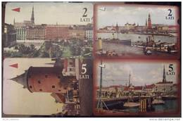 4 Nice Cards Cartes Karten From LATVIA Lettonie Lettland, OLD VIEWS OF RIGA City, Waterfront, Bridge, Square, Tower
