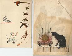 - 2 Menus:-1-16/11/22:A,J.Van Den Hove(voir Vins) Illustration Chat Devant L'âtre -2-Noel 54 :illustration Chasse - Menus