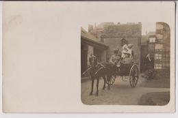 CARTE PHOTO : SUPERBE ATTELAGE - CACHET CONVOYEUR CHATEAU DU LOIR A CHARTRES - ECRITE 1907 - 2 SCANS - - Equipaggiamenti