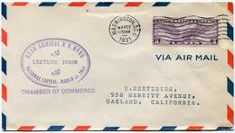 """ETATS-UNIS LETTRE PAR AVION AVEC CACHET """"REAR ADMIRAL R. E. BYRD LECTURE TOUR NATIONAL CAPITAL-MARCH 27-1931"""" - Event Covers"""
