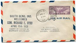"""ETATS-UNIS LETTRE PAR AVION AVEC CACHET """"SOUTH BEND IND. WELCOMES COM. RICHARD E. BYRD APRIL 15 TH 1931"""" - Event Covers"""
