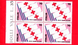 Nuovo - MNH - ITALIA - 1980 - 1° Mostra Internazionale Del Francobollo Della Croce Rossa - Quartina - 70 L. • Bandi - 6. 1946-.. Repubblica