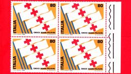 Nuovo - MNH - ITALIA - 1980 - 1° Mostra Internazionale Del Francobollo Della Croce Rossa - Quartina - 80 L. • Bandi - 6. 1946-.. Repubblica