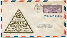 """ETATS-UNIS LETTRE PAR AVION AVEC CACHET """"REAR ADMIRAL RICHARD E. BYRD DECATUR ILLINOIS APRIL 18  1931"""" - Event Covers"""
