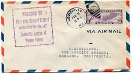 """ETATS-UNIS LETTRE PAR AVION AVEC CACHET """"WELCOME TO REAR ADM. RICARD E. BYRD LECTURE TOUR FEB. 9TH 1931..............."""" - Event Covers"""