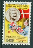 France Grande Vignette Antituberculeux 1954 500F Windshield Label Greens 27w.2.3  3 5/8 X 5 5/8 - Commemorative Labels