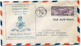 """ETATS-UNIS LETTRE PAR AVION AVEC CACHET """"COMMEMORATING VISIT OF RICHARD E. BYRD TO ALLENTOWN PENNA. MARCH 23  1931....."""" - Event Covers"""
