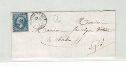 LETTRE - DPT SAONE ET LOIRE - TP N°14 T1 - OB PC 3008 + CàD ST BONNET DE JOUX + BOITE LOCALE J - 1849-1876: Classic Period