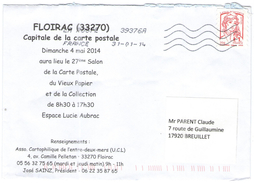 FRANCIA - France - 2014 - Lettre Prioritaire 20g Marianne De Ciappa-Kawena - Viaggiata Da 39376A Per Breuillet, France - 2013-... Marianne De Ciappa-Kawena