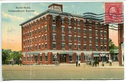 Washington George 2 Cents Carmin 1912 . Oblitéré 1914 . Sur Carte Independence Booth Hotel (pli Vertical)