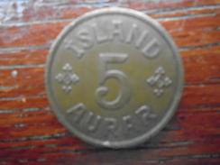ICELAND 1940 FIVE AURAR BRONZE USED COIN (Ref:HG50) - Iceland