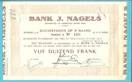 DISCONTOBON VIJF DUIZEND FRANK / BANK J. NAGELS / AARSCHOT / 1929  (F337) - Banque & Assurance