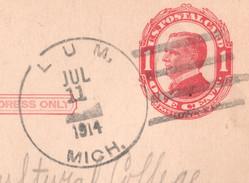 ENTIER POSTAL STATIONERY USA 1914 POSTAGE 1C  CACHET LUM JUL 11 MICH - Lansing