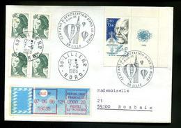 Marcophile,lettre 1986,obl Montgolfière,Liberté Gandon 0.05,Henri Fabre PC 1986+coupon,atome Orbtes,ivignette MOG Lille - Airships