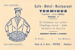 Carte Commerciale Hôtel Restaurant TERMINUS / Lucien FARRUGIA / Pertuis 84 Vaucluse - Cartes