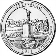 "USA QUARTER (1/4 Dollar) 2011 D Mint ""GETTYSBURG"" UNC - 2010-...: National Parks"