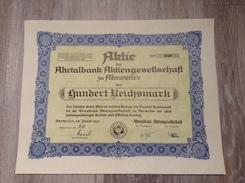 100 Reichsmark Aktie 1940 Ahrtalbank AG Ahrweiler Eifel - Bank & Versicherung