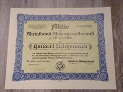 100 Reichsmark Aktie Blankette 1940 Ahrtalbank AG Ahrweiler Eifel - Bank & Versicherung