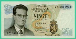 20 Francs - Belgique - 15-6-64 - N° 2Y3857934 - Spl - - [ 6] Treasury