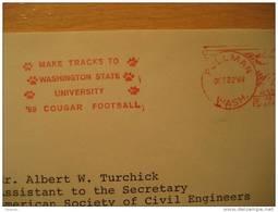 USA Pullman 1969 Washington Cougar Cancel Cover American Football Cup Soccer Futbol Americano Super Bowl
