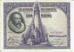 BILLETE  100  PESETAS AÑO  1928 - [ 1] …-1931 : First Banknotes (Banco De España)