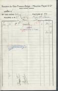 FACTURE DE 1936 ROBERT LESAGE SOCIÉTÉ DU GAZ FRANCO BELGE MAURICE PAYET & Cie À GRÉSILLON : - Electricité & Gaz