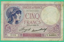5 Francs - Violet - France - N°. Y.54993 - 11-5-1933 CR - TB+ - - 1871-1952 Circulated During XXth