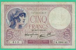 5 Francs - Violet - France - N°. K.58814 - 615 - 20-7-1939MX -  TB+ - - 1871-1952 Antichi Franchi Circolanti Nel XX Secolo
