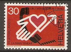 SUISSE      -     1975.   Y&T N° 988 Oblitéré.    Main Tendue  /  Téléphone  /   Coeur. - Suiza