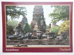 Postcard Ayutthaya Thailand Buddha Images In Wat Mahatat Destroyed In 1767 My Ref B2199 - Thailand