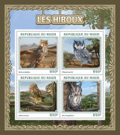 NIGER 2016 ** Owls Eulen Hiboux M/S - OFFICIAL ISSUE - A1704 - Owls