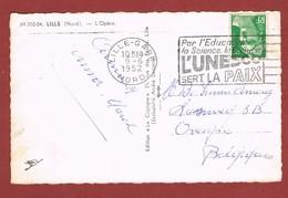 Flamme L'Unesco Sert La Paix ... Carte Postale De Lille 1952vers La Belgique