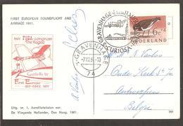 's Gravenhage CURIOSA 1961. Vignet FISA Congress. C.p. Ré éd. Les Oiseaux De France. KIMMERLING - 1949-1980 (Juliana)