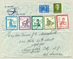 Nederland - 1950 - Kind-serie Van 1950 Op LP-brief Van Haarlem Naar New York / USA - Briefe U. Dokumente
