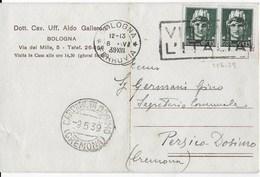 STORIA POSTALE REGNO-CARTOLINA PRIVATA INTESTATA - ANNULLO A TARGHETTA  VISITATE L'ITALIA  UFFICIO DI BOLOGNA - Storia Postale