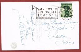 Gelegenheidsstempel Salzburger Festspiele 1954 Op Gelopen Zichtkaart 9.8.54 Salzburg 1 - Music