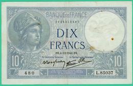 10  Francs - Minerve -  France - N°. L.85037 480 - FR.4=12=1941.FE. - TB+ - - 1871-1952 Anciens Francs Circulés Au XXème