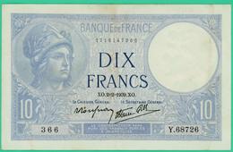 10  Francs - Minerve -  France - N°. Y.68726 366 - XO.2=2=1939.XO. - TTB - - 1871-1952 Circulated During XXth