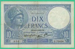 10  Francs - Minerve -  France - N°. U.72056 950 - RH.14=9=1939.RH  - TTB - - 1871-1952 Circulated During XXth