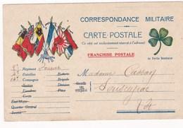 Franchise Militaire 8 Eme Regiment De Zouaves Cassan Sousceyrac Lot Trefle Drapeaux - Guerre 1914-18