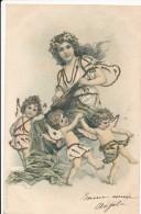 CPA Précurseur Enfants Anges Angelots Chérubins Et Jeune Fille Musicienne Et Sa Mandoline Art Nouveau 1904 - Scenes & Landscapes