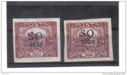 EIL340 TSCHECHOSLOWAKEI OBERSCHLESIEN 1920 MICHL  22 A A + B Blauer Und Schwarzer Aufdruck (*) FALZ Siehe ABBILDUNG - Tschechoslowakei/CSSR